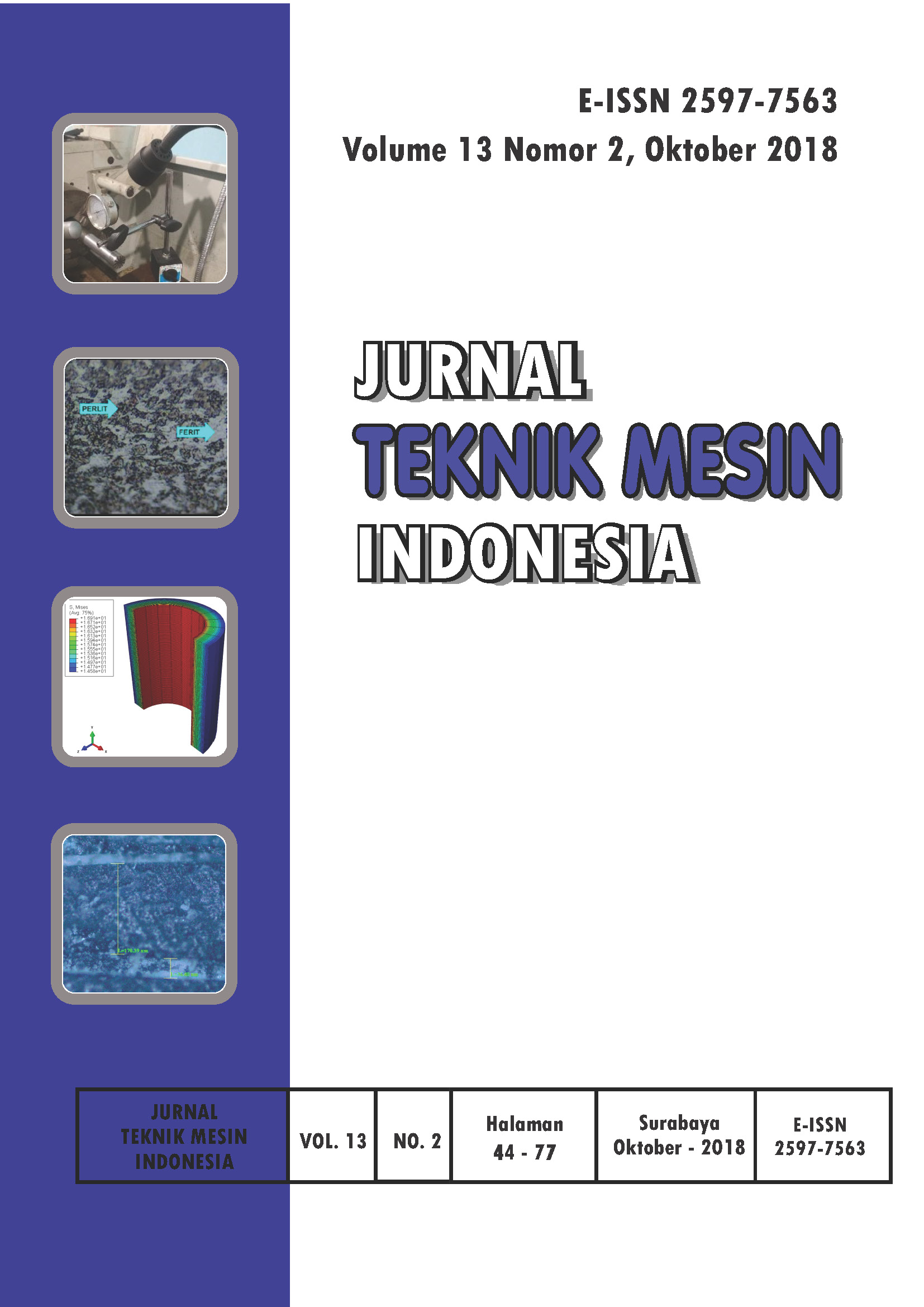 Jurnal Teknik Mesin Indonesia Vol 13 No 2 Oktober 2018